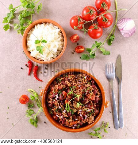 chili con carne and rice - top view