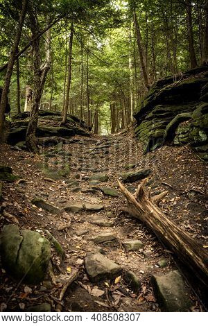 Trail Heads Up Rocky Hill Toward The Ledges In Cuyahoga Valley National Park