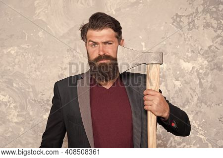 His Bearded Hair Look Styled. Bearded Man Shave Facial Hair With Axe. Hair Salon. Hipster With Musta