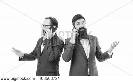 Good Business Talk. Men Phone Conversation. Guy With Smartphone Call Partner. Mobile Call Concept. S