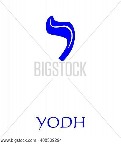 Hebrew Alphabet - Letter Yodh, Gematria Hand Symbol, Numeric Value 10, Blue Font Decorated With Whit