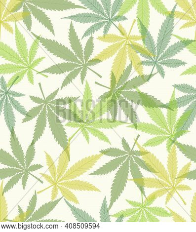 Cannabis Leaves In Different Green Shades On White Background, Fine Colored Natural Inspired Design,