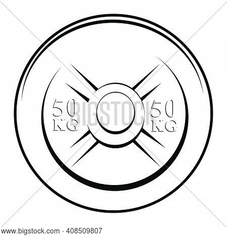 Simple Vector Black And White Barbell Plate, Isolated On White