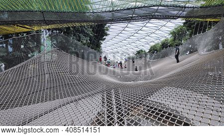 Singapore - Dec 31, 2020: Manulife Sky Nets Is The Attraction Sports Two Different Nets That Allow V