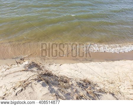 Above View Of Sand Dune Cliff On Lake Michigan Shoreline