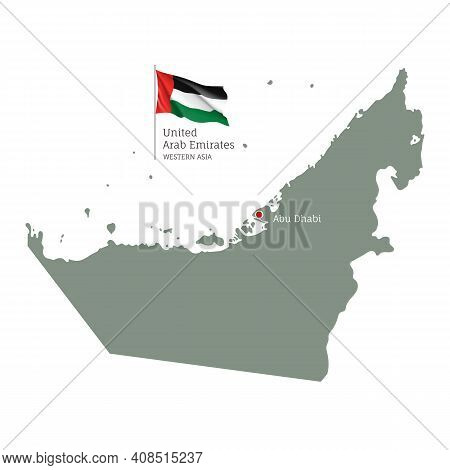 Silhouette Of Uae Country Map. Detailed Map Of United Arab Emirates With National Flag And Abu Dhabi