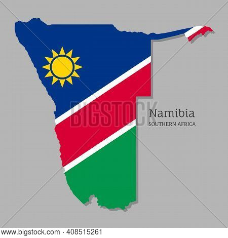 Map Of Namibia With National Flag. Highly Detailed Map Of South Africa Country With Territory Border