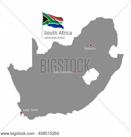 Silhouette Of South Africa Country Map. Gray Map With Waving National Flag And Cape Town, Bloemfonte