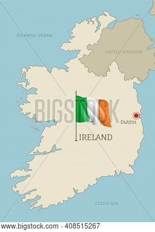 Silhouette Of Ireland Country Map. Highly Detailed Editable Ireland Map Country Territory Borders Wi