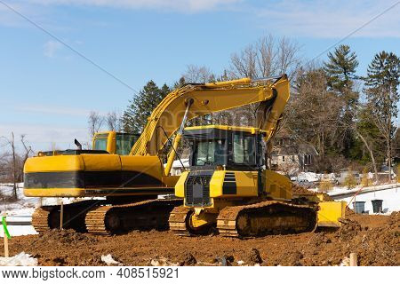 Tractor And Excavator On Site Heavy Work Shovel