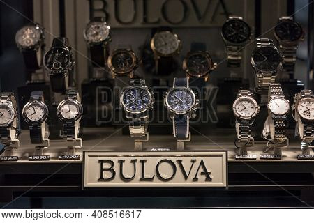 Belgarde, Serbia - December 18, 2020: Bulova Logo In Front Watches On Wristwatches And Chronographs