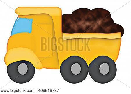 Cute Yellow Dump Truck Full of Dirt Isolated on White with Clipping Path