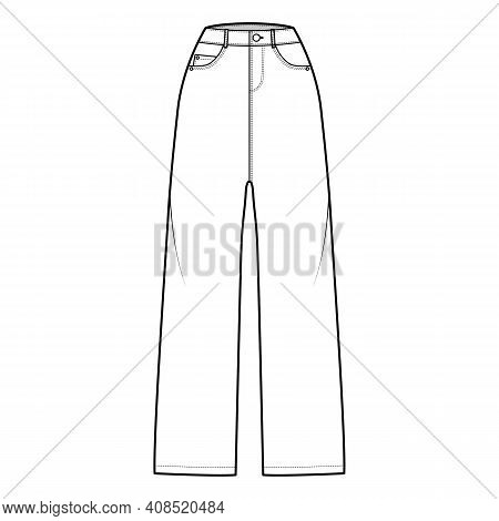 Baggy Jeans Denim Pants Technical Fashion Illustration With Full Length, Normal Waist, High Rise, 5