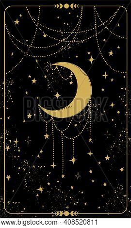 Tarot Card With Crescent Moon And Stars. Magic Card, Boho Style Design, Engraving, Witch Cover. Gold