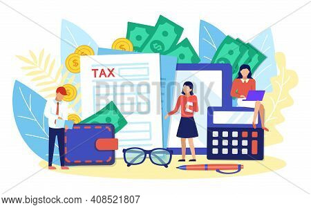 Online Tax Payment Concept. Tiny People Filing Tax Form, Counting Money. M-banking, Payments, Financ