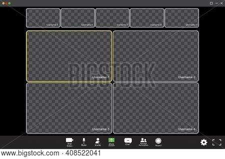 Zoom Interface Template. Online Video. Mobile Application Design. Online Business Webinar Chat. Stoc
