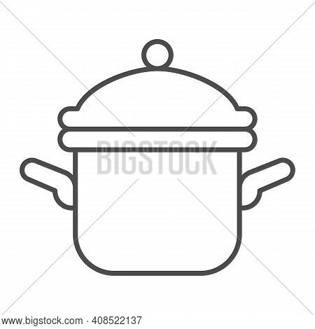Pot With Lid Thin Line Icon, Thanksgiving Day Concept, Casserole Sign On White Background, Saucepan
