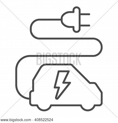 Car And Cord With Plug Thin Line Icon, Electric Car Concept, Ecological Transport Sign On White Back