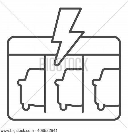 Gas Station With Three Electric Cars Thin Line Icon, Electric Car Concept, Ev Charging Station Sign