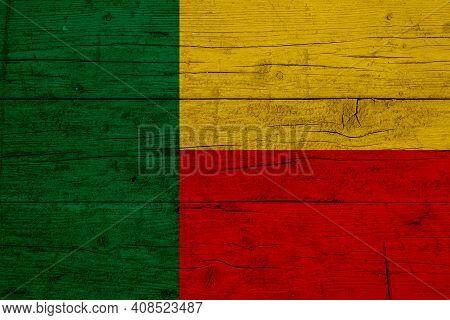 Flag Of Benin. Wooden Texture Of The Flag Of Benin.
