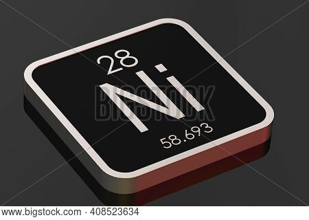 Nickel Element From Periodic Table On Black Square Block, 3d Rendering