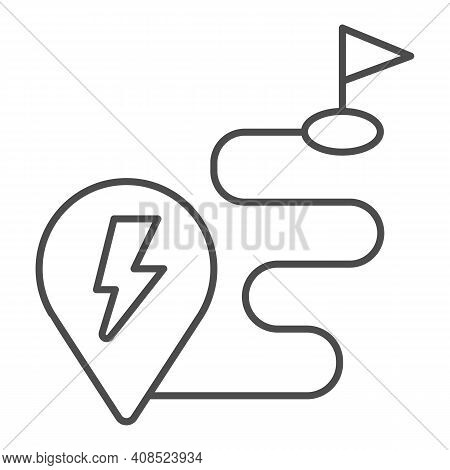 Route And Location Pin With Lightning Thin Line Icon, Electric Car Concept, Charge Geo Tag On Map Si