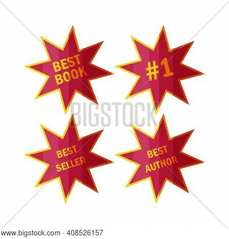 Best Seller Stickers And Badges. Labels For Top Book Sellers In Cartoon Style. Vector Illustration I