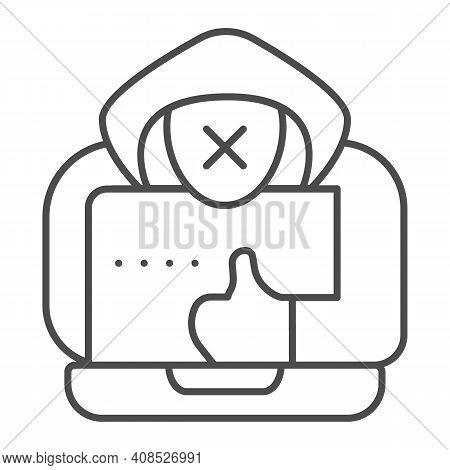 Hacker With A Laptop Thin Line Icon, Web Security Concept, Anonymous Agent With Thumb Up And Laptop