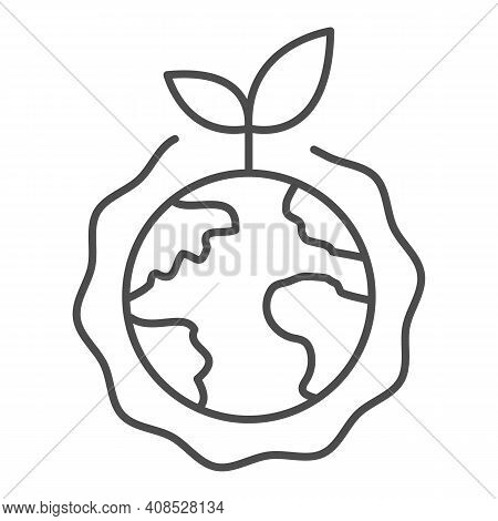 Planet With Plant And Ozone Layer Thin Line Icon, Electric Car Concept, Green Earth Sign On White Ba