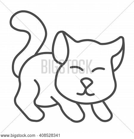 Cute Kitten Thin Line Icon, Domestic Animals Concept, Cat Silhouette Sign On White Background, Playi