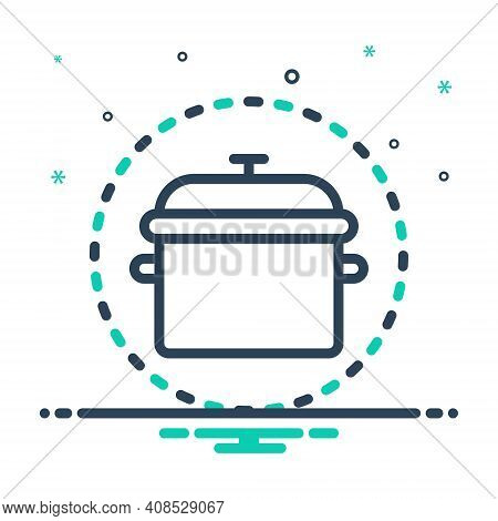 Mix Icon For Pot Kitchenware Tagine Utensil Vessel Steamship Appliance Cookery Cuisine Culinary