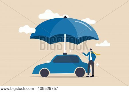 Car Insurance, Accident Protection For Vehicle, Safety Or Assurance Service Concept, Businessman Car