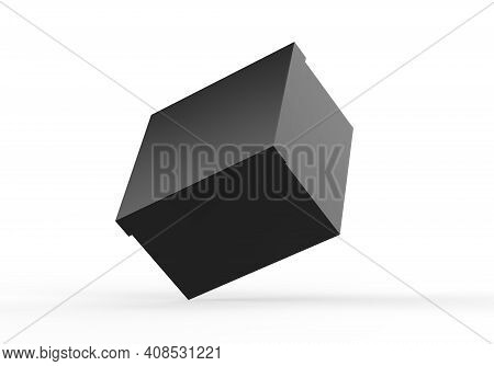 Black Blank Rigid Neck Box With Inner Foxing For Branding Presentation And Mock Up, 3d Illustration