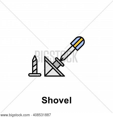 Shovel Outline Icon. Element Of Labor Day Illustration Icon. Signs And Symbols Can Be Used For Web,