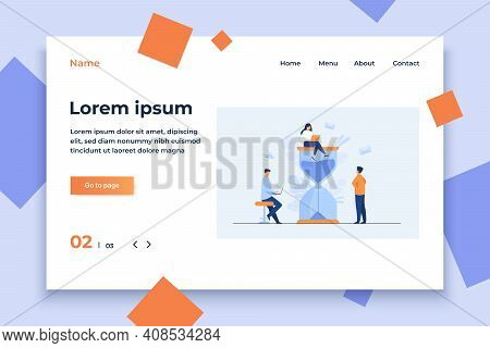 Tiny People And Huge Sand Glass Flat Vector Illustration. Cartoon Team Working Together With Laptops