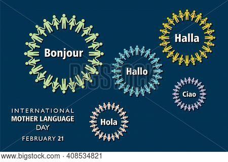Vector Illustration Of International Mother Language Day Observed On February 21 English Translation