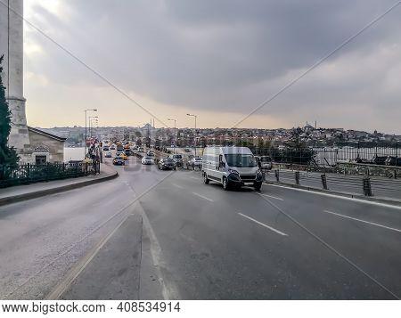 Transport Traffic On The Ataturk Bridge In Istanbul (turkey) On A Cloudy Summer-autumn Day. Many Car