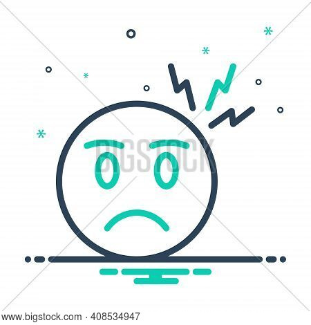 Mix Icon For Worry Disquietness Angry Anguished Apprehension Problem Tension