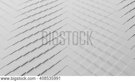 Abstract 3d Computer Generated Illustration Of A Pattern Of White Cubes Or Squares Displaced And Wav