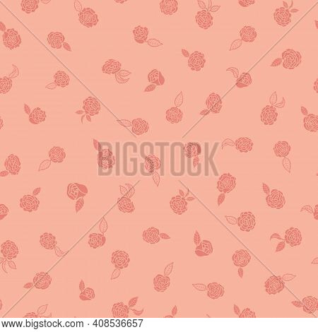 Pastel Camelia Silhouettes Floral Themed Seamless Repeating Pattern. Beautiful Hand Drawn Vector Des