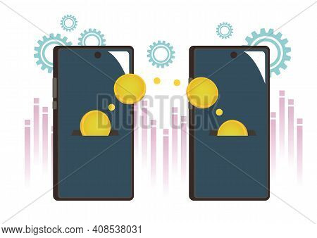 Transfer Money Online. Mobile Payment With Mobile Phones. Transaction, Business Internet Pay And Dig