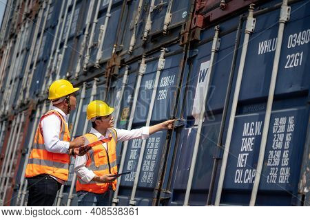 Engineer Staff Team Checking And Inspect Container For International Business Logistic Import And Ex