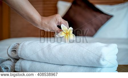 Hands Of Hotel Maid Putting Plumeria Flower And Towels On The Bed In The Luxury Hotel Room Ready For