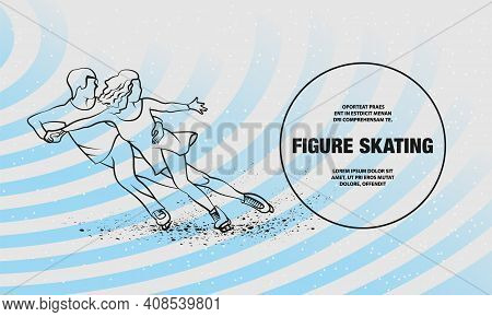 Professional Pair Figure Skating Sport. Vector Outline Of Figure Skating Sport Illustration.
