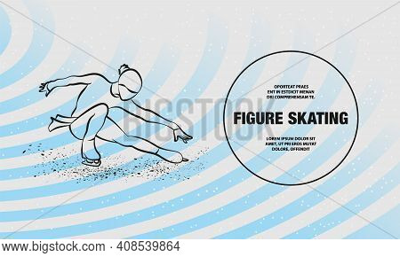 Figure Skating Neon Illustration. Vector Outline Of Girl On Skates Performs Her Dance Illustration.
