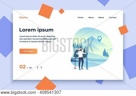 Skier Woman Holding Skis And Poles With Snowy Landscape. Tourism, Winter, Leisure Concept. Vector Il
