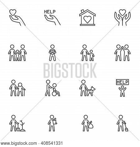 Volunteering And Charity Line Icons Set, Outline Vector Symbol Collection, Linear Style Pictogram Pa