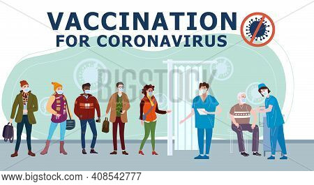 Vaccination People For Covid-19. Immunity Health Doctor And Nurse Makes Injection Of Coronavirus In