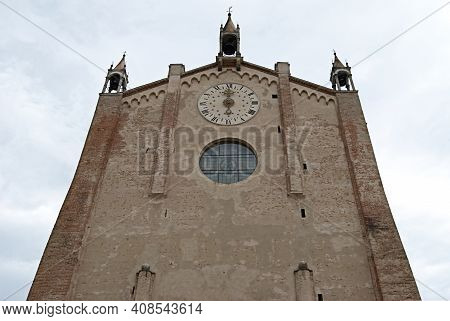 Facade Of Cathedral Of Santa Maria Assunta. Montagnana, Padua, Italy