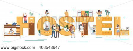 Hostel Typography Banner, Flat Vector Illustration. Budget Tourists, Students Living In Cheap Hotel,